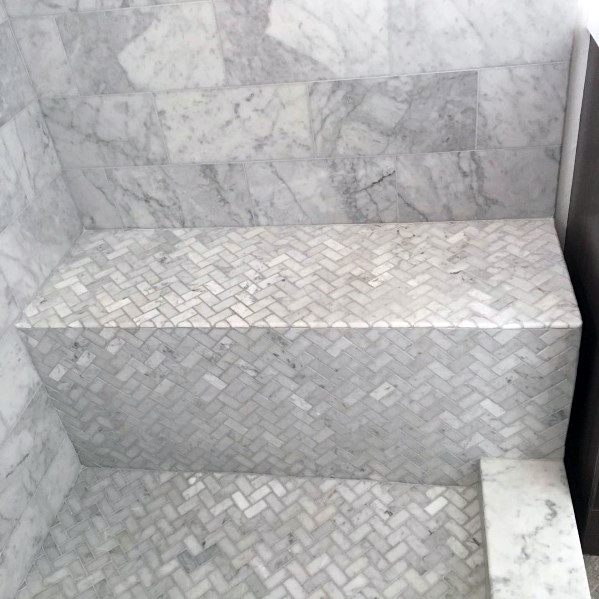 Regular Herringbone Tile Grey And White Marble Bathroom Designs Shower Benchs