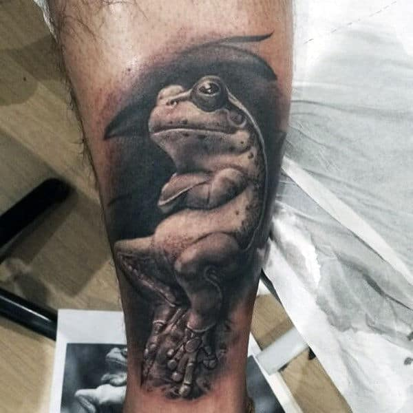 Relaxed Frog Mens Shaded 3d Arm Tattoos