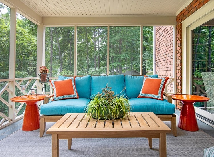 Relaxing Colorful Screened In Sun Porch Esinteriors
