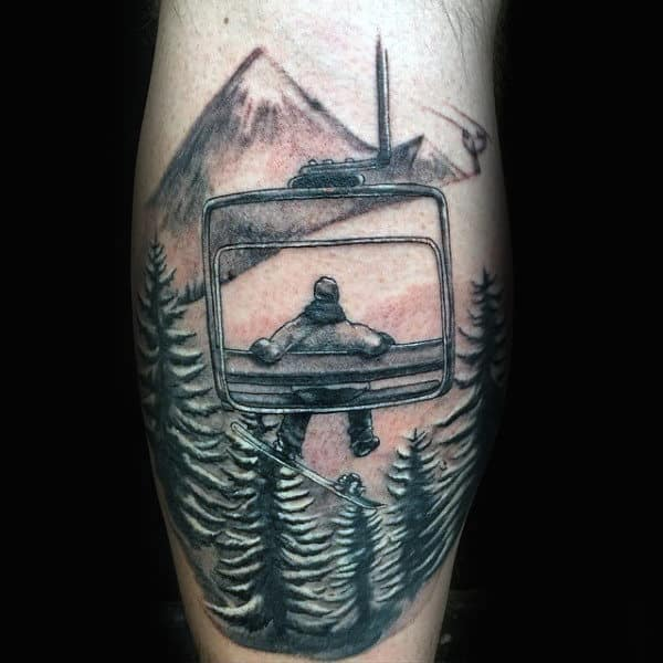 Relaxing On Winch Snowboard Tattoo Male Forearms