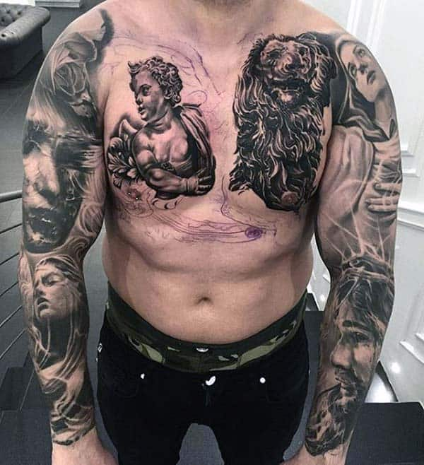 Relgiious Themed Extreme Sleeve Tattoos For Guys