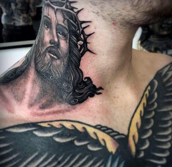 Religious God Tattoo Male Neck