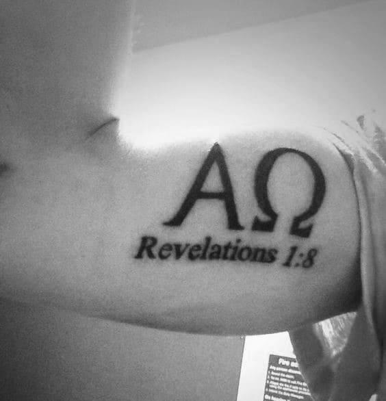 Religious Alpha Omega Mens Bicep Tattoos