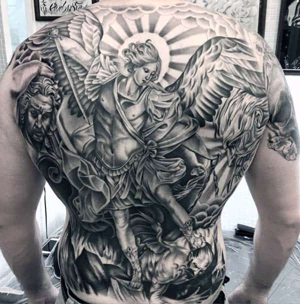 Religious Angel Extreme Mens Full Back Tattoo