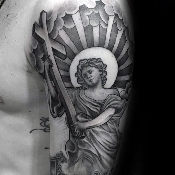 Religious Angel Holding Cross Mens Chicano Tattoos Half Sleeve