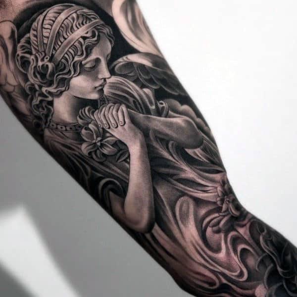 Religious Angel Inner Arm Male Tattoos