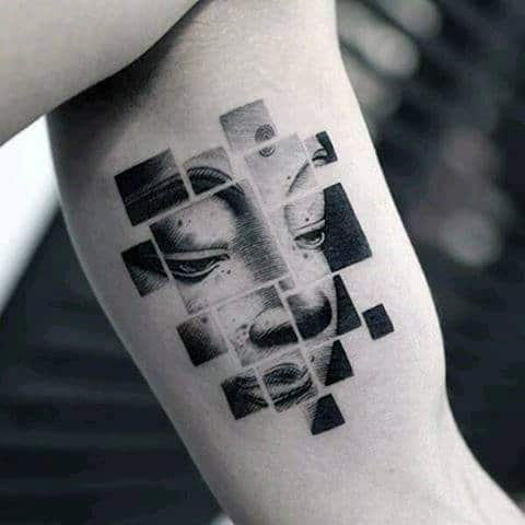 Religious Artistic Mens Cube Inner Arm Bicep Tattoos