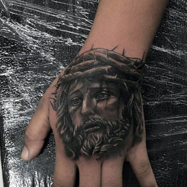 Religious Black And Grey Jesus Hand Tattoo Ideas For Men