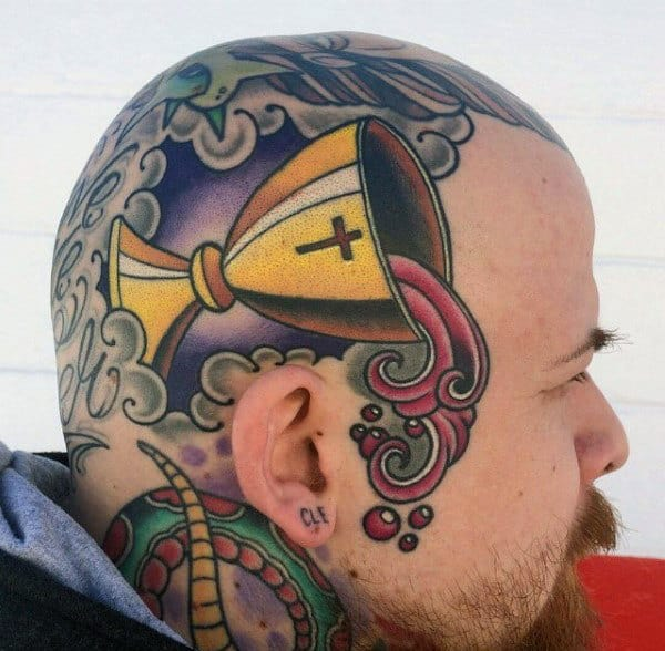 Religious Blood Of Jesus Christ Cup Modern Guys Head Tattoo