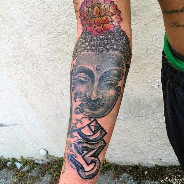 Religious Buddha Lotus Tattoo On Arms For Men