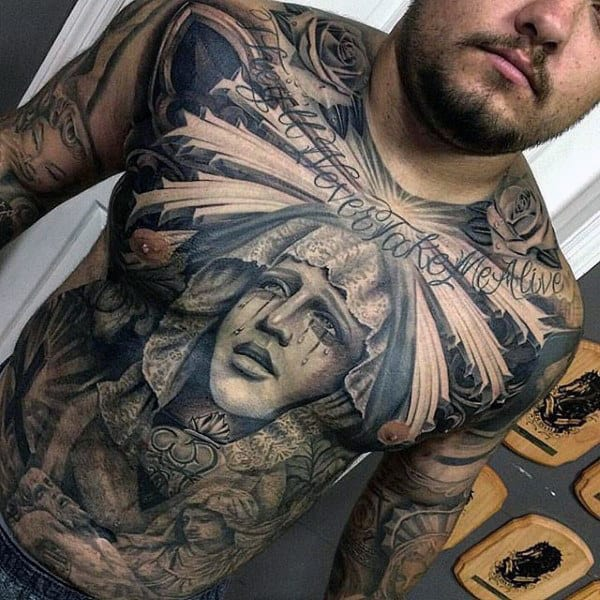 Top 100 best stomach tattoos for men masculine ideas for Religious chest tattoos