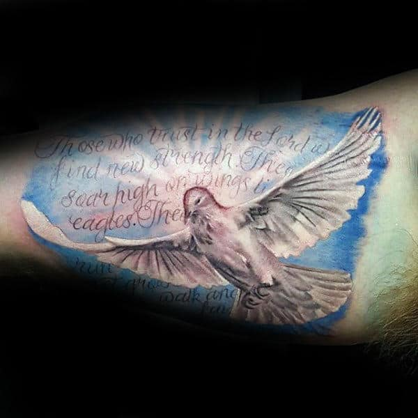 Religious Christian Quote With White Dove Inner Arm Tattoos For Men