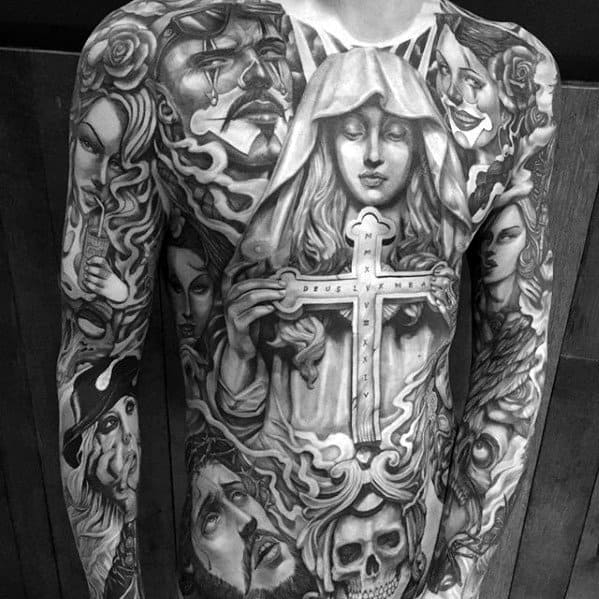 Religious Cross Chicano Unbelievable Mens Full Chest And Sleeve Tattoos