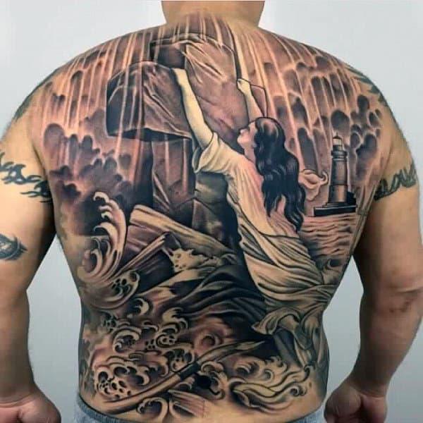 Religious Cross Modern Male Back Tattoo