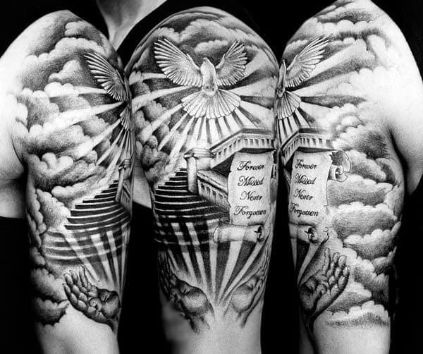 Religious Dove Tattoos For Gentlemen Of Starway To Heaven