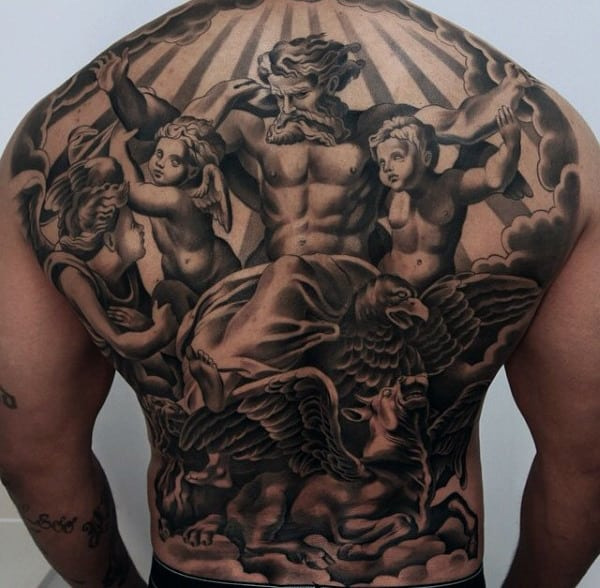 Religious God With Angels Modern Full Back Shaded Black Ink Mens Tattoos
