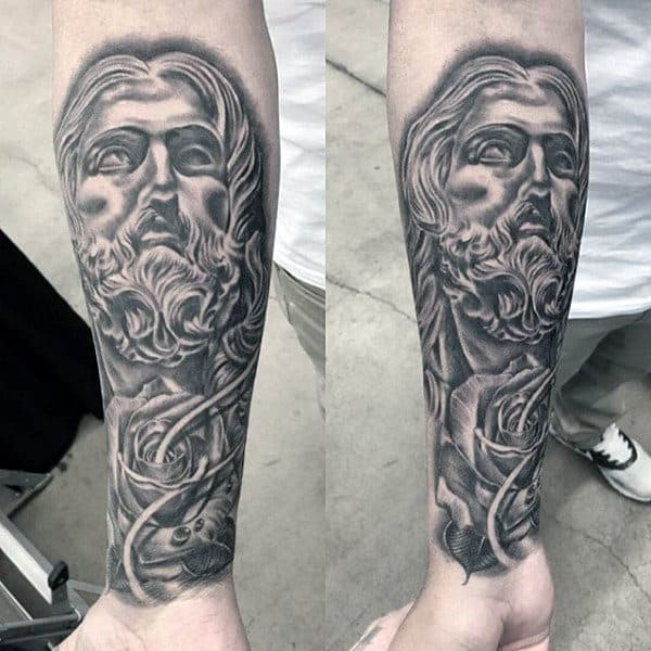 Religious Grey Tatto Mens Sleeve