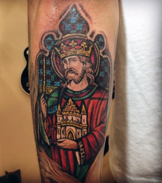 Religious Guys Outer Forearm Stained Glass Tattoo