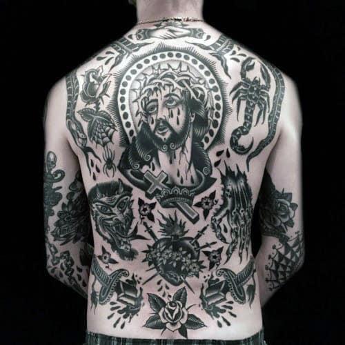Religious Guys Traditional Full Back Tattoos