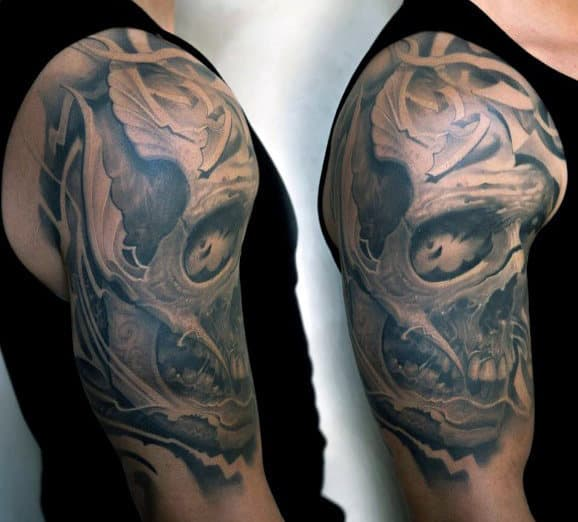 Religious Skull Half Sleeve Tattoos For Men