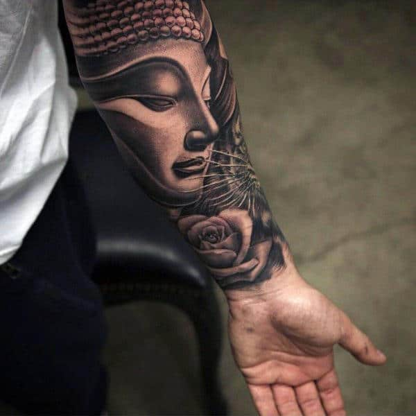 Religious Inner Forearm Rose Tattoo Design Inspiration