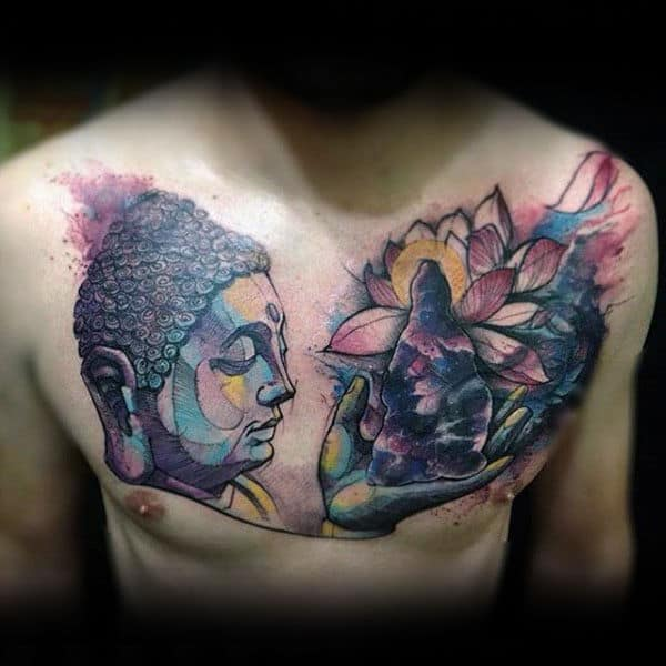 Religious Insane Mens Chest Watercolor Tattoos