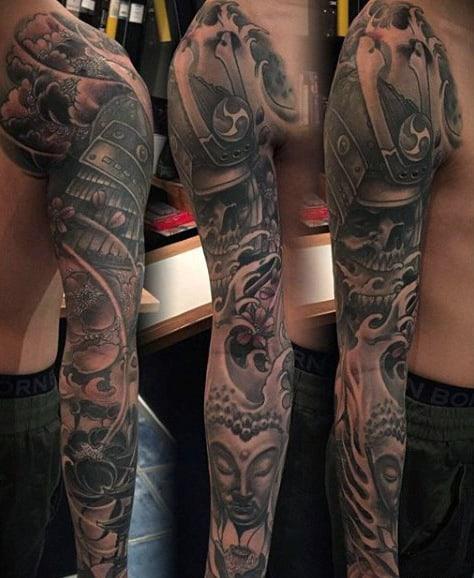 Religious Japanese Sleeve Tattoo For Men
