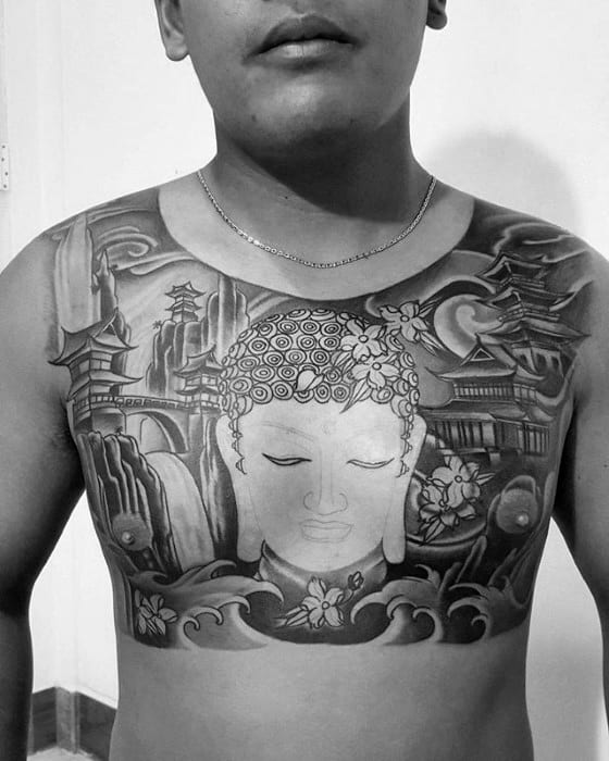 Religious Japanese Temple Guys Upper Chest Tattoos