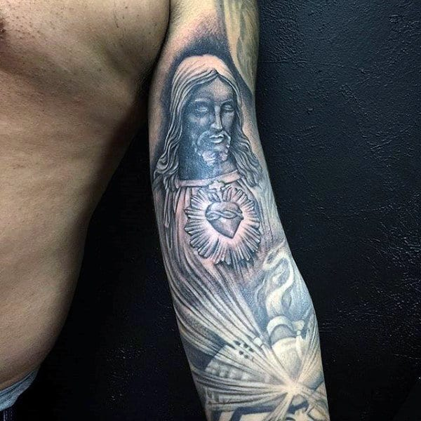 Religious Jesus Tattoo Male Sleeves