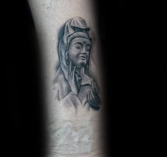 Religious Male Badass Portrait Inner Forearm Small Tattoos