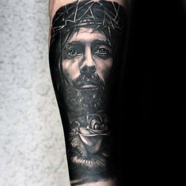 Religious Male Catholic Rose Flower With Jesus Forearm Sleeve Tattoo