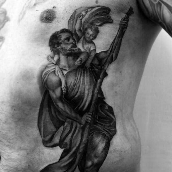Religious Male Rib Cage Side Tattoo Deisgn Of Saint Christopher