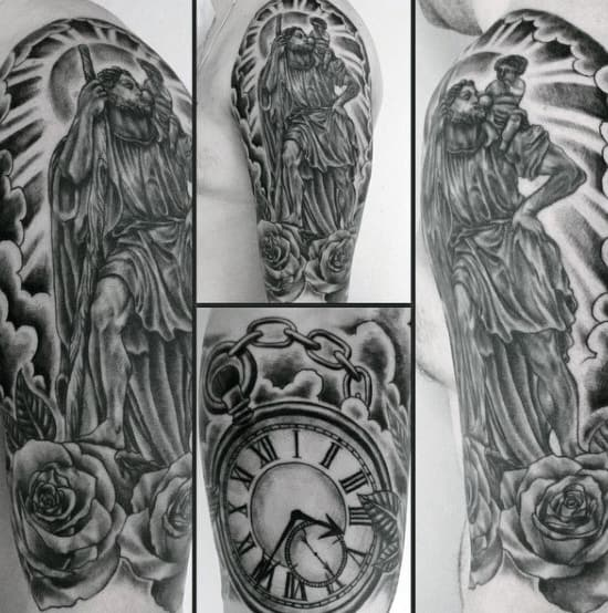 40 st christopher tattoo designs for men manly ink ideas. Black Bedroom Furniture Sets. Home Design Ideas