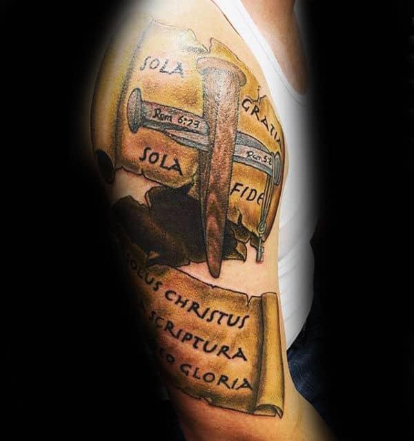 Religious Male Scroll Arm Tattoo Designs