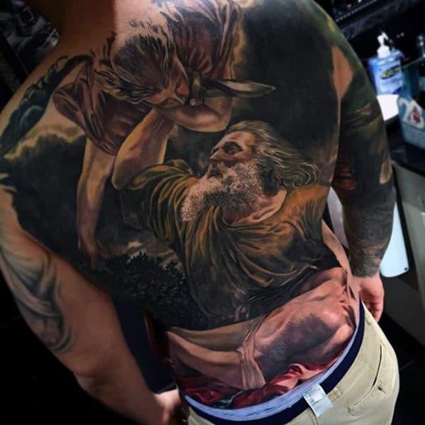 Religious Mens Angel Badass Back Tattoo