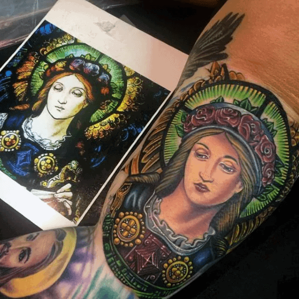 Religious Mens Bicep Stained Glass Tattoo Inspiration