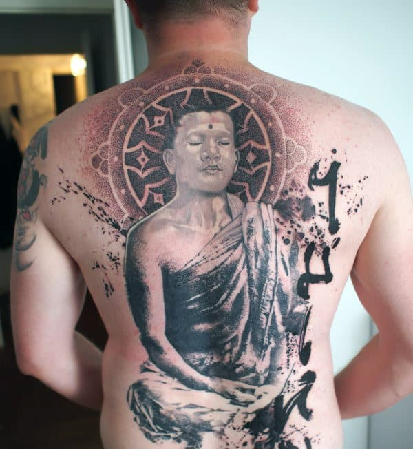 Religious Mens Dharma Wheel Full Back Tattoo With Negative Space Design