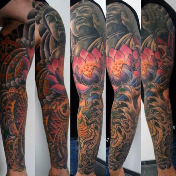 Religious Mens Lotus Flower Sleeve Tattoos