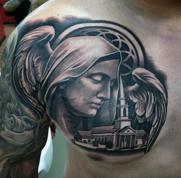 Religious Mother Mary Chruch Mens Black Ink Upper Chest Tattoo
