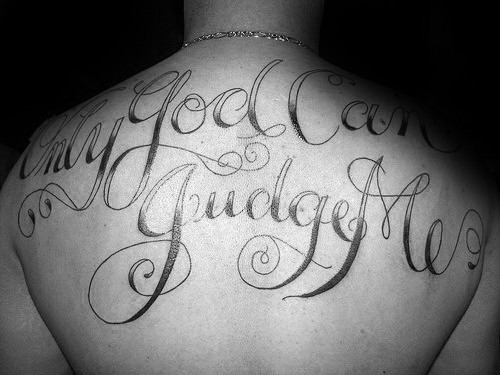 religious only god can judge me guys back tattoos