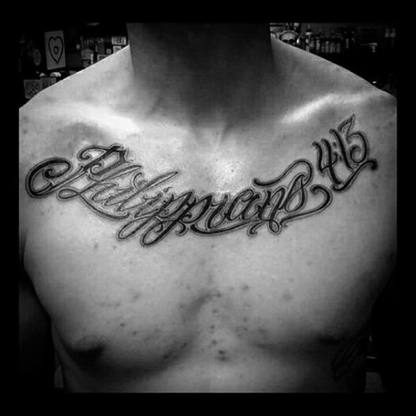 Religious Philippians 4 13 Guys Script Upper Chest Tattoo Ideas