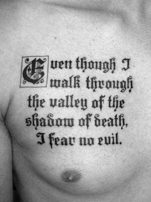 50 Chest Quote Tattoo Designs For Men - Phrase Ink Ideas