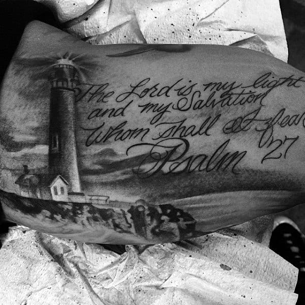 Religious Quote Landscape Mens Lighthouse Shore Tattoo On Arm