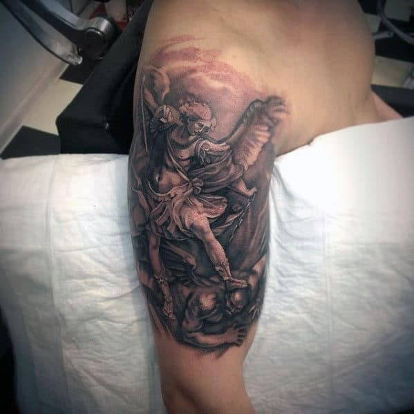 Religious Saint Michael Mens 3d Arm Tattoo