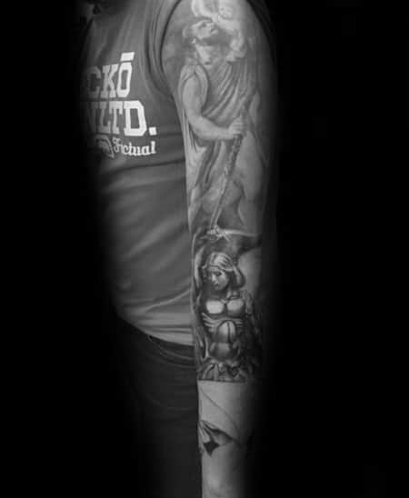 Religious Shaded Guys Saint Christopher Half Sleeve Design Tattoo