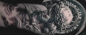 Top 73 Religious Sleeve Tattoo Ideas [2020 Inspiration Guide]