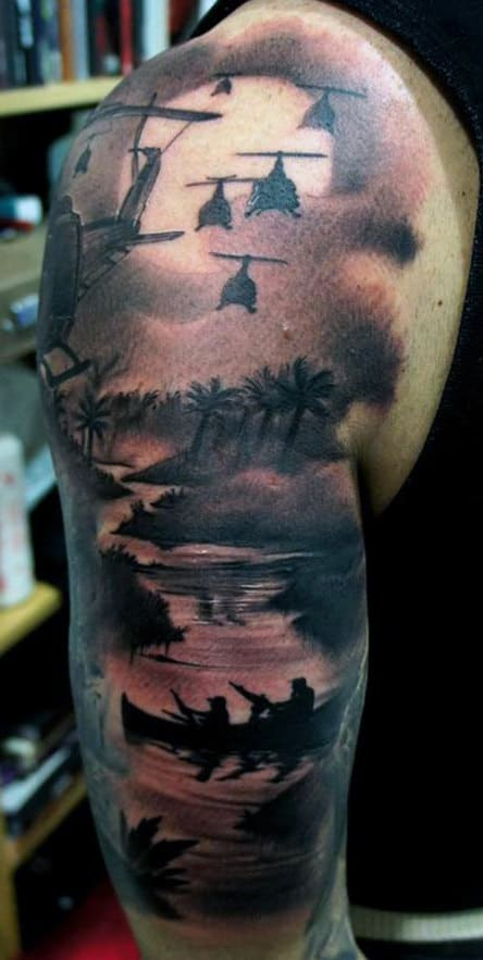 Top 100 best sleeve tattoos for men cool designs and ideas war sleeve tattoos gumiabroncs Images