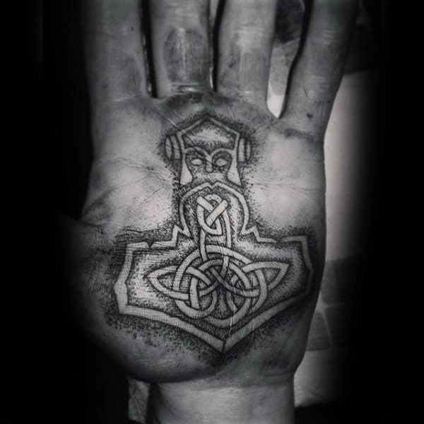 Religious Symbol Dotwork Tattoo Male Palms