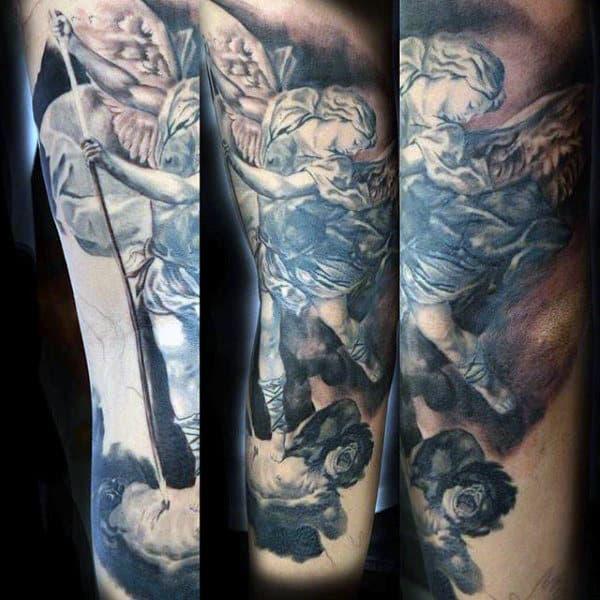 Religious Tattoo Of Goodness Prevailing Over Eveil Tattoo Male Torso