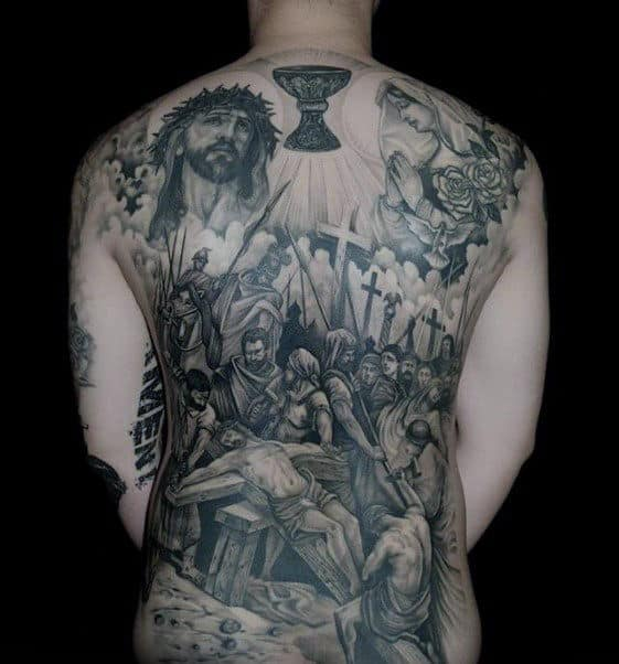 Religious Themed Guys Jesus Full Back Tattoos